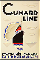 BNPS.co.uk (01202 558833)<br /> Pic: ThamesHudson/BNPS<br /> <br /> ***Please use full byline***<br /> <br /> Poster by Alexey Bordovitch, 1929, showing Cunard Line's Mauretania which inaugurated Cunard's service out of Southampton and was then used as a troopship during the Gallipoli campaign and a hospital ship for those injured in the battle. <br /> <br /> The golden age of poster art has been captured in a sumptuous new book of Art Deco design from the 1920's and 30's.<br /> <br /> And ironically the stunning but throwaway designs now sell for tens of thousands of pounds as modern collectors appreciate the unique design's from a halcyon age.<br /> <br /> Author Willian Crouse has illustrated his book with over 300 posters from his own vast collection of art accumulated over the last 30 years.