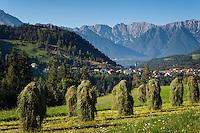 Austria, Tyrol, Pitztal Valley, Arzl in Pitztal Valley: haymaking, at background Lechtal Alps | Oesterreich, Tirol, Pitztal, Arzl im Pitztal: Heuernte, im Hintergrund die Lechtaler Alpen