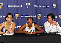 Florida International University guard Jerica Coley (22) at the post game press conference after the game against Western Kentucky University.  FIU won the game 60-56 on January 28, 2012 at Miami, Florida. .