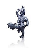 Erotic bronze oil lamp configured as a dancing midget, found in Pompeii,  Secret Museum or Secret Cabinet, Naples Archaeological Museum , white background