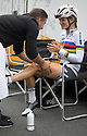 17/06/16 <br /> <br /> World Champion, Lizzie Armitstead has her legs massaged in Ashbourne, Derbyshire before the Aviva Women's Tour sets off for a 68.2 mile race across the Peak District to Chesterfield.<br /> <br /> All Rights Reserved F Stop Press Ltd +44 (0)1335 418365