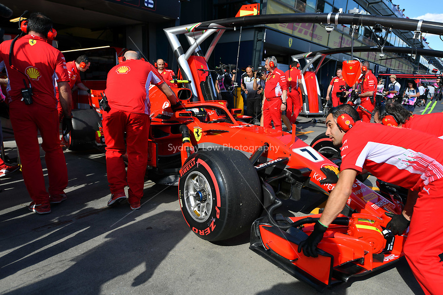 March 23, 2018: Kimi Raikkonen (FIN) #7 from the Scuderia Ferrari team is wheeled into the garage during practice session two at the 2018 Australian Formula One Grand Prix at Albert Park, Melbourne, Australia. Photo Sydney Low