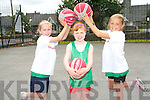 Friends having fun at the Killarney basketball camp last week. <br /> L-R Niamh Horgan, Doireann O'Sullivan and Maria Moynihan.