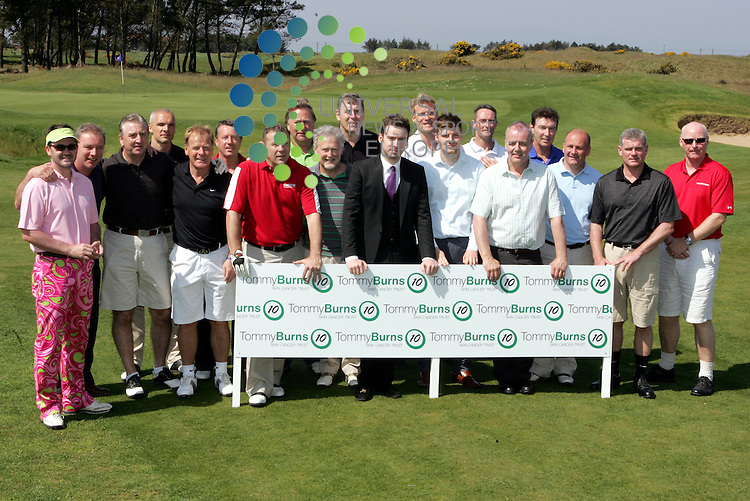 Some of the large group who were playing in the Tommy Burns Masters golf fund raisin . tournament in aid of the Tommy Burns Skin Cancer Trust played over the Dundonald links. Picture: Universal News And Sport (Scotland) 25 May 2012.
