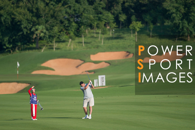 Yao Ming plays during the World Celebrity Pro-Am 2016 Mission Hills China Golf Tournament on 22 October 2016, in Haikou, China. Photo by Marcio Machado / Power Sport Images