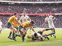 Twickenham, United Kingdom.Nathan HUGHES blocked from reaching the line, during the Old Mutual Wealth Series Rest Match: England vs Australia, at the RFU Stadium, Twickenham, England, <br /> <br /> Saturday  03/12/2016<br /> <br /> [Mandatory Credit; Peter Spurrier/Intersport-images]