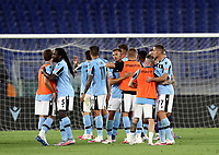 Football, Serie A: S.S. Lazio - Fiorentina, Olympic stadium, Rome, June 27, 2020. <br /> Lazio's players celebrate after winning 2-1the Italian Serie A football match between S.S. Lazio and Fiorentina at Rome's Olympic stadium, Rome, on June 27, 2020. <br /> UPDATE IMAGES PRESS/Isabella Bonotto