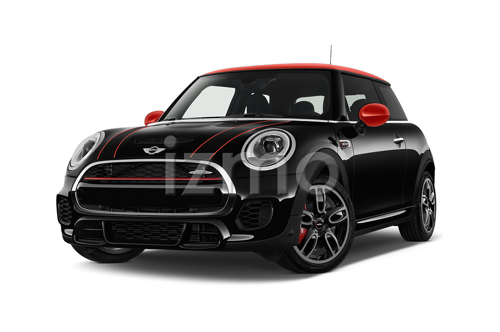 Stock pictures of low aggressive front three quarter view of a 2017 Mini MINI John Cooper Works 3 Door Hatchback