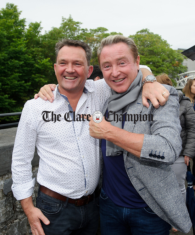 Michael Flatley with his friend and healer Michael O Doherty at the official opening of the All-Ireland Fleadh 2017 in Ennis. Photograph by John Kelly.
