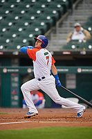 """Buffalo Bisons Reese McGuire (7) hits a single during an International League game against the Scranton/Wilkes-Barre RailRiders on June 5, 2019 at Sahlen Field in Buffalo, New York.  The Bisons wore special uniforms as they played under the name the """"Buffalo Wings"""".  Scranton defeated Buffalo 3-0, the first game of a doubleheader.  (Mike Janes/Four Seam Images)"""