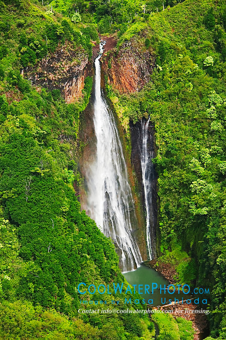 Manawaiopuna Falls, featured in the movie, Jurassic Park, Kauai, Hawaii, Pacific Ocean