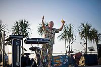 Senigallia, Agosto 2013. Un DJ in una spiaggia di Senigallia durante il Festival Summer Jamboree.