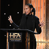 BEVERLY HILLS - NOVEMBER 3: Alicia Keys appears onstage at the 2019 Hollywood Film Awards at the Beverly Hilton on November 3, 2019 in Beverly Hills, California. (Photo by Frank Micelotta/PictureGroup)