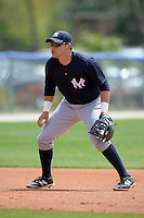 Third baseman Dante Bichette Jr (27) of the New York Yankees organization during a minor league spring training game against the Toronto Blue Jays on March 16, 2014 at the Englebert Minor League Complex in Dunedin, Florida.  (Mike Janes/Four Seam Images)