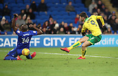 1st December 2017, Cardiff City Stadium, Cardiff, Wales; EFL Championship Football, Cardiff City versus Norwich City; Nelson Oliveira of Norwich City shoots at goal but is blocked by Sol Bamba of Cardiff City