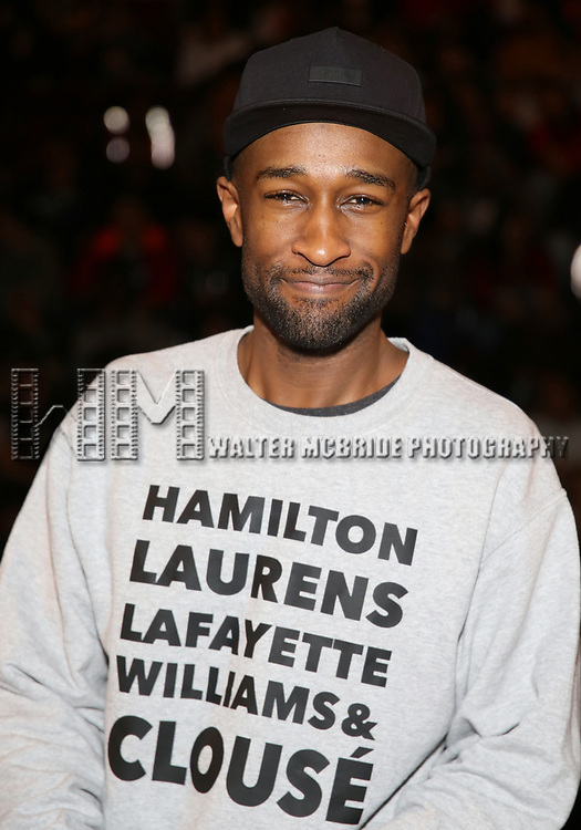 """Donald Webber Jr. before The Rockefeller Foundation and The Gilder Lehrman Institute of American History sponsored High School student #EduHam matinee performance of """"Hamilton"""" at the Richard Rodgers Theatre on May 24, 2017 in New York City."""