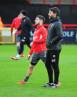 Lincoln City's Tom Pett, left, and Lincoln City manager Danny Cowley during the pre-match warm-up<br /> <br /> Photographer Andrew Vaughan/CameraSport<br /> <br /> The EFL Sky Bet League Two - Stevenage v Lincoln City - Saturday 8th December 2018 - The Lamex Stadium - Stevenage<br /> <br /> World Copyright © 2018 CameraSport. All rights reserved. 43 Linden Ave. Countesthorpe. Leicester. England. LE8 5PG - Tel: +44 (0) 116 277 4147 - admin@camerasport.com - www.camerasport.com