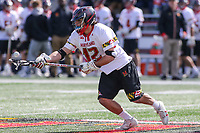 College Park, MD - April 1, 2017: Maryland Terrapins Jon Garino (12) gets the ball during game between Michigan and Maryland at  Capital One Field at Maryland Stadium in College Park, MD.  (Photo by Elliott Brown/Media Images International)