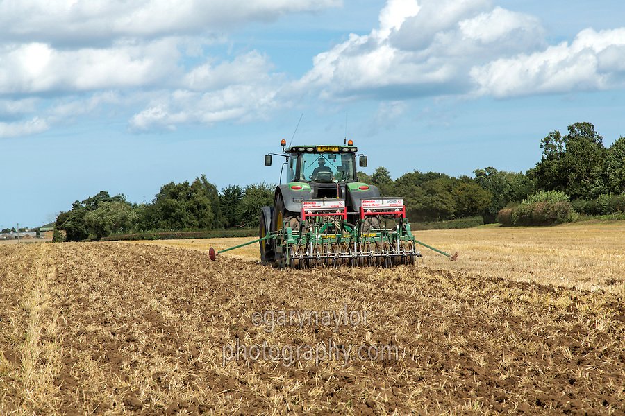 Drilling oil seed rape with subsoiler into stubble - Norfolk, Augsust