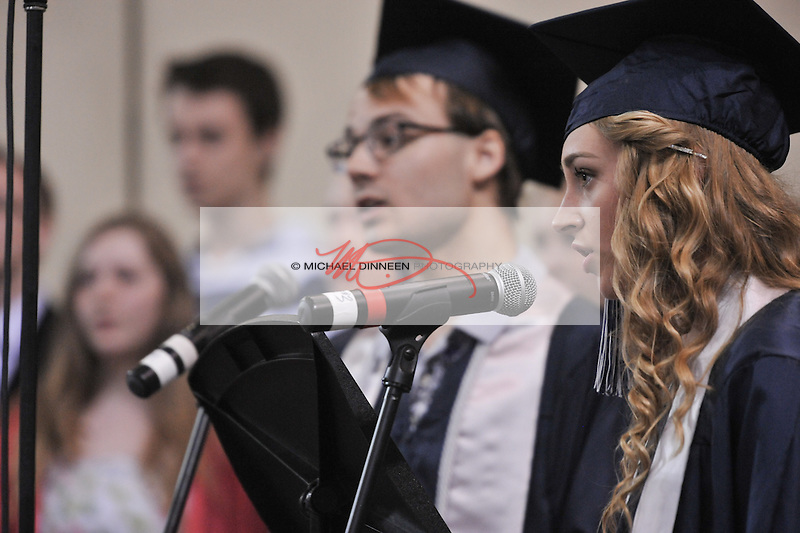 Summer Frazier and ??? sing during the Eagle River High School commencement Monday May 9, 2016.  Photo for the Star by Michael DInneen