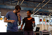September 4, 2010. Raleigh, North Carolina..Tab One (left) and Rapsody(right), both from the group Kooley High, vibe together during their performance at the African-American Cultural Festival.