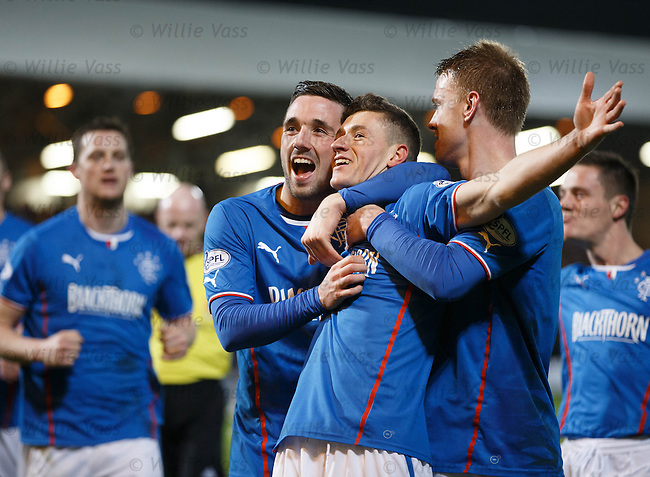 Fraser Aird celebrates after scoring the opener for Rangers