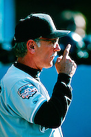 Florida Marlins Manager Jim Leyland during a game at Dodger Stadium in Los Angeles, California during the 1997 season.(Larry Goren/Four Seam Images)