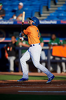 St. Lucie Mets second baseman Blake Tiberi (3) follows through on a swing during a game against the Daytona Tortugas on August 3, 2018 at First Data Field in Port St. Lucie, Florida.  Daytona defeated St. Lucie 3-2.  (Mike Janes/Four Seam Images)