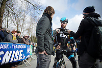 Sir Bradley Wiggins (GBR/Sky) interviewed at the start<br /> <br /> 3 Days of De Panne 2015