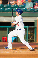 Scott Schebler (8) of the Chattanooga Lookouts follows through on his swing against the Montgomery Biscuits at AT&T Field on July 24, 2014 in Chattanooga, Tennessee.  The Biscuits defeated the Lookouts 6-4. (Brian Westerholt/Four Seam Images)