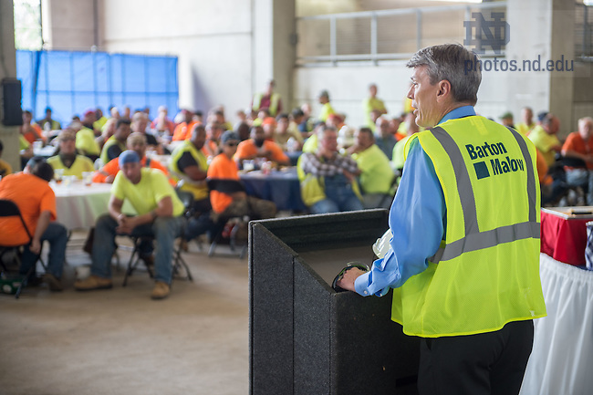 Jul. 2, 2015; Associate Vice President for Facilities, Design and Operations and University Architect Doug Marsh speaks to Campus Crossroads construction workers at a lunch provided by the University. (Photo by Matt Cashore/University of Notre Dame)
