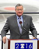 Mayor Jim Kenney (Democrat of Philadelphia, Pennsylvania) makes welcoming remarks to the media during the Spring walk-through for the 2016 Democratic National Convention at the Wells Fargo Center in Philadelphia, Pennsylvania on Tuesday, April 12, 2016.<br /> Credit: Ron Sachs / CNP<br /> <br /> (RESTRICTION: NO New York or New Jersey Newspapers or newspapers within a 75 mile radius of New York City)