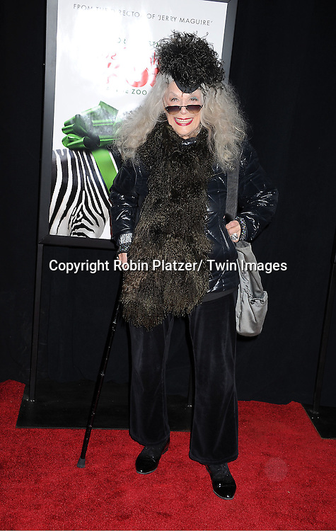 "Sylvia Miles attends The New York Screening of ""We Bought A Zoo"" on December 12, 2011 at The Ziegfeld Theatre in New York City. The movie stars Matt Damon, Scarlett Johansson, Thomas Haden Church, Patrick Fugit, Colin Ford, Elle Fanning and John Michael Higgins."