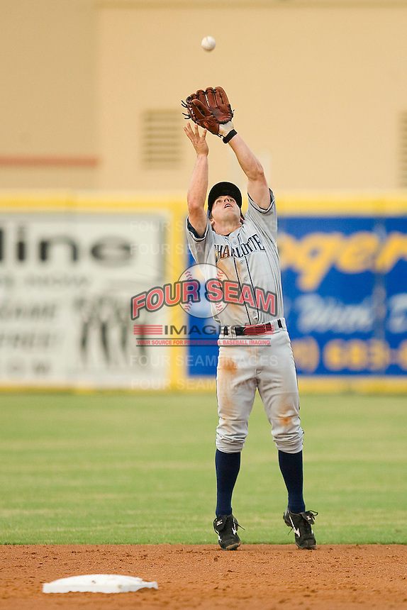 Second baseman Anthony Scelfo #9 of the Charlotte Stone Crabs catches a pop fly behind the bag against the Jupiter Hammerheads at Roger Dean Stadium June 15, 2010, in Jupiter, Florida.  Photo by Brian Westerholt /  Seam Images