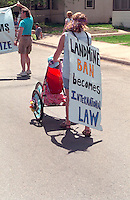 Protesting for a ban on land mines. In the Heart of the Beast May Day Festival and Parade Minneapolis Minnesota USA