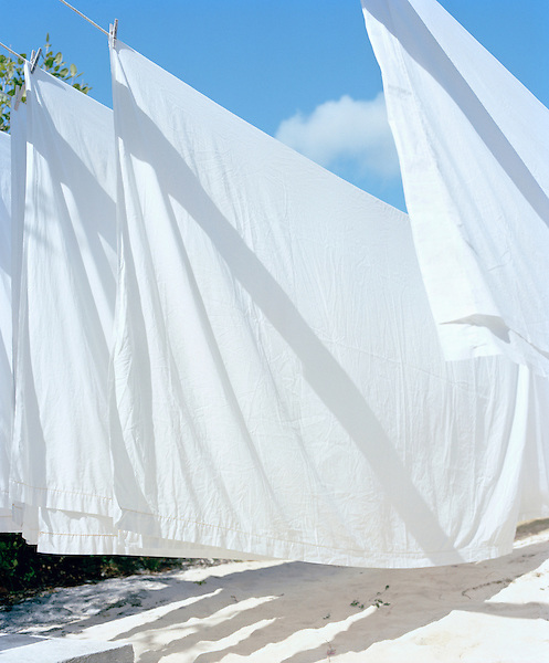 SOUTH ANDROS ISLAND, THE BAHAMAS: White bed sheets drying in the wind. South Andros Island, The Bahamas. The Caribbean.