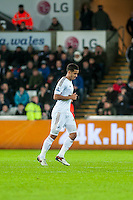 Kyle Naughton Leave the field after being sent off during the Barclays Premier League match between Swansea City and Sunderland played at the Liberty Stadium, Swansea  on  January the 13th 2016