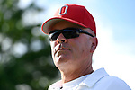 WINSTON SALEM, NC - MAY 22: Head Coach Ty Tucker of the Ohio State Buckeyes watches the action against the Wake Forest Demon Deacons during the Division I Men's Tennis Championship held at the Wake Forest Tennis Center on the Wake Forest University campus on May 22, 2018 in Winston Salem, North Carolina. Wake Forest defeated Ohio State 4-2 for the national title. (Photo by Jamie Schwaberow/NCAA Photos via Getty Images)