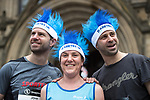 © Joel Goodman - 07973 332324 . 28/05/2017 . Manchester , UK . JOHN POLITIS (37) , ELISABETH KEABLE (40 from Sale) and GEORGE POLITIS (38) , running for Diabetes UK . The Great Manchester Run 2017 . Security is still heightened in Manchester following a murderous bomb attack at an Ariana Grande gig at Manchester Arena on Monday 22nd May . Photo credit : Joel Goodman