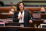 Nevada Assemblywoman Teresa Benitez Thompson, D-Reno, speaks on the Assembly floor at the Legislative Building in Carson City, Nev., on Tuesday, April 21, 2015. <br /> Photo by Cathleen Allison