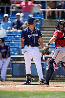 Binghamton Rumble Ponies left fielder Tim Tebow (15) at bat during a game against the Altoona Curve on June 14, 2018 at NYSEG Stadium in Binghamton, New York.  Altoona defeated Binghamton 9-2.  (Mike Janes/Four Seam Images)