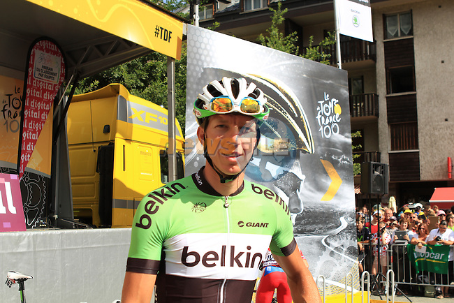 Belkin Procycling Team rider at the sign on before the start of Stage 19 of the 100th Edition of the 2013 Tour de France from Bourg-d'Oisans to Le Grand-Bornand. 19th July 2013.<br /> (Photo:Thomas van Bracht / Peloton Photos/www.newsfile.ie)