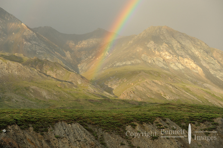 A double rainbow emerges from the Brooks Range at Grasser's strip on a summer evening along the Hulahula River in Alaska's Arctic National Wildlife Refuge.
