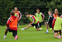 Pictured: Ki Sung Yueng (C). Thursday 14 August 2014<br /> Re: Swansea City FC training at Fairwood, south Wales, ahead of their first game of the Premier League season against Manchester United this coming Saturday.