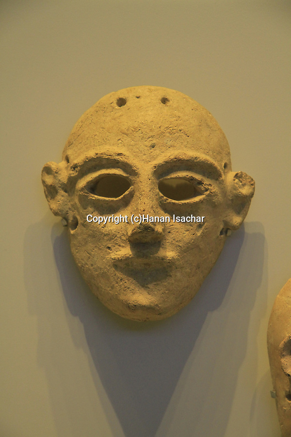 Israel, Jerusalem, a mask from Hazor, 14th-13th century BC, on display at the Israel Museum
