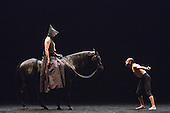 London, UK. 13 March 2016. Pictured: Bartabas and Andres Marin performing together. Dress rehearsal of Golgota by Bartabas. Acclaimed French equestrian theatre artist Bartabas returns to Sadler's Wells accompanied by contemporary flamenco dancer Andres Marin from Seville, four horses and a donkey to present the UK Premiere of Golgota from 14 to 21 March 2016. Photo: Bettina Strenske