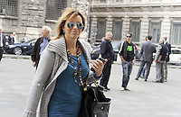 Roma, 13 ottobre 2011.Parlamentari e ministri entrano in Parlamento per l'intervento del presidente silvio Berlusconi.Alessandra Mussolini