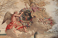 Winter, 1673, from a series of tapestries on the seasons, after drawings by Charles Le Brun, 1619-90, and Beaudrin Yvart 1611-80, made by the workshop of Dominique de la Croix and the Gobelins, in the Antechamber of the Empress, Chateau de Fontainebleau, France. The Palace of Fontainebleau is one of the largest French royal palaces and was begun in the early 16th century for Francois I. It was listed as a UNESCO World Heritage Site in 1981. Picture by Manuel Cohen