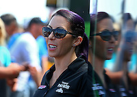 May 21, 2016; Topeka, KS, USA; NHRA funny car driver Alexis DeJoria during qualifying for the Kansas Nationals at Heartland Park Topeka. Mandatory Credit: Mark J. Rebilas-USA TODAY Sports