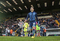 Matt Bloomfield of Wycombe Wanderers leads out his team during the Sky Bet League 2 match between Notts County and Wycombe Wanderers at Meadow Lane, Nottingham, England on 10 December 2016. Photo by Andy Rowland.